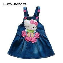 LCJMMO Baby Girl Denim Dress 2017 Summer Cartoon Pattern Girls Overalls Sleeveless Sundress Kids Infant Clothes Size 70-95cm