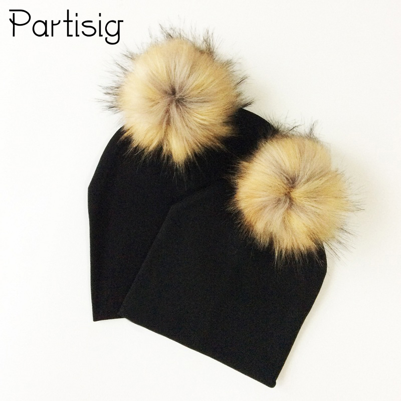 b3e06732087 Baby Hat Faux Fur Baby And Mother Cap Autumn Winter Cotton Hat With Pompom  Kids And
