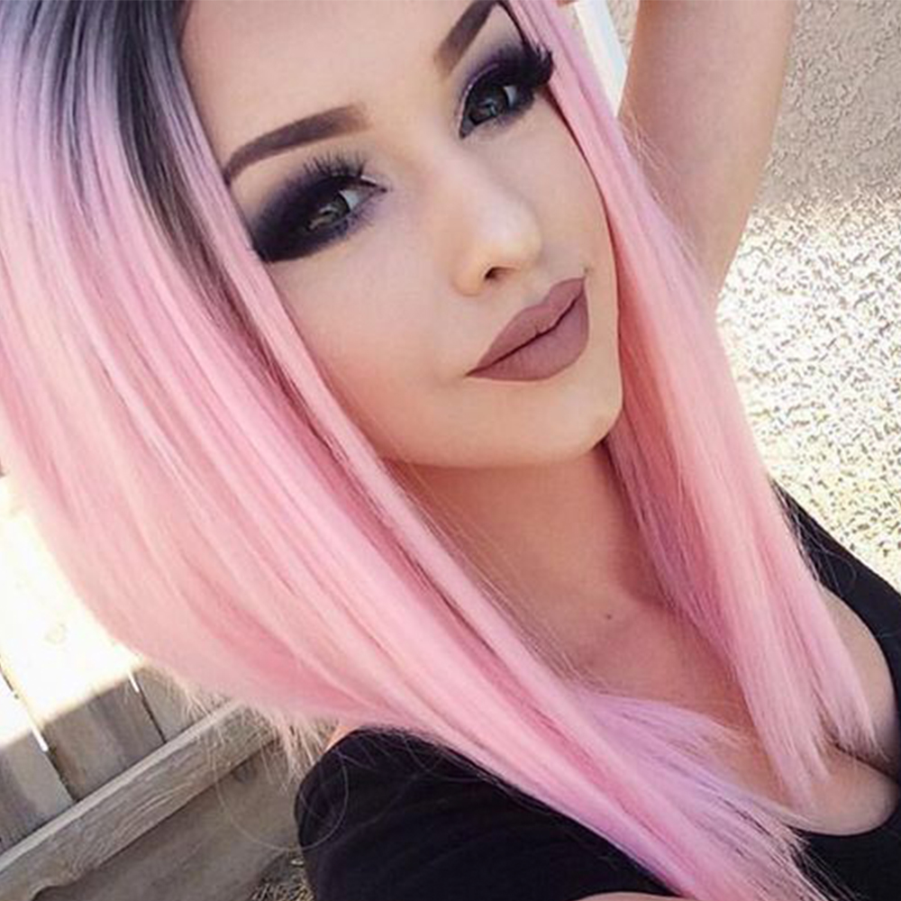 Pageup Ombre Bob Synthetic Wigs For Women African American Ladies High Temperature Fiber Heat Resistant Short Cosplay Pink Wig (1)