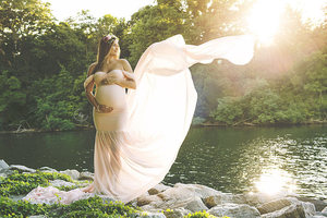 Image 4 - 2019 مثير ملابس للحمل التصوير الدعائم قبالة الكتف المرأة فستان الحمل للصور اطلاق النار جديد الذيل ماكسي ثوب الأمومة