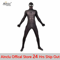 Ainclu hot venom symbiote spiderman costume cosplay halloween zentai suit black spider man superhero costumes for Adult/Kids CH