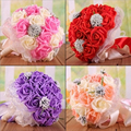 2016 Buque De Noiva Romantic Holding Flowers Sweet Rose with Beads Birdal Bouquet Wedding Bouquets for Bridesmaids Flower Girl