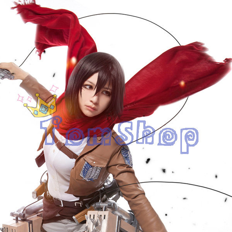 Anime Attack on Titan Mikasa Ackerman Scarf Shingeki no Kyojin Red Tassels Scarves Halloween Cosplay Costume props 160*70cm