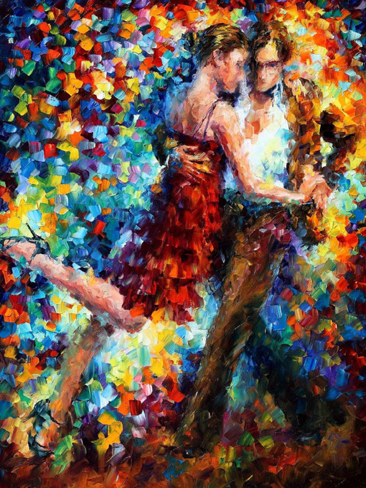 Professional Artist Hand-painted High Quality Knife Painting Tango Dancer Oil Painting On Canvas Handmade Dancer Oil Painting