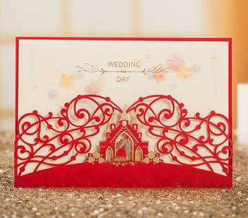 100Pcs Bride & Groom in Castle Red Crown Laser Cut Wedding Invitations, Blank Customized Wedding Invitations Card with Envelopes