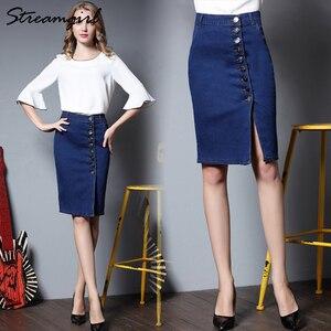 Image 5 - Midi ג ינס חצאית בתוספת גודל נשים שחור ג ינס חצאיות נשים חצאיות נשים של עיפרון חצאית עם כפתורי מותניים גבוהים הברך אורך פיצול