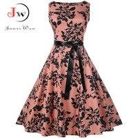 Плюс Размеры летнее платье Для женщин Винтаж рокабилли платья Jurken цветочный 50 s 60 s ретро большие качели Pinup Платье для вечеринки