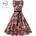 Plus Größe Sommer Kleid Frauen Vintage Rockabilly Kleider Jurken Floral 50s 60s Retro Große Schaukel Pinup Party Kleid vestidos-in Kleider aus Damenbekleidung bei