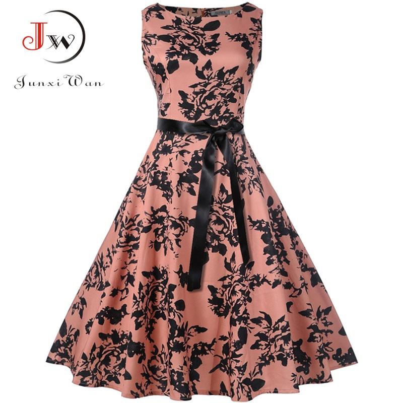 Plus Size Summer Dress  Women Vintage Rockabilly Dresses Jurken Floral 50s 60s Retro Big Swing Pinup Party Dress Vestidos