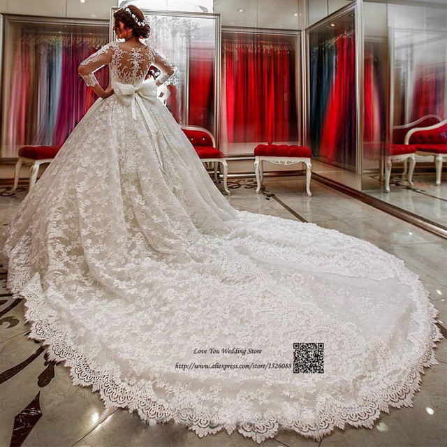 Vestido de Renda Luxury Wedding Dresses Turkey Arabic Bride Dress Lace Ball  Gown Princess Wedding Gowns Long Sleeve Chapel Train 71173d686d0f