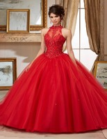 2016 Rubydress Hot Sale Sexy Red Quinceanera Dresses Ball Gowns Long Tulle Appliques Beaded Lace Up