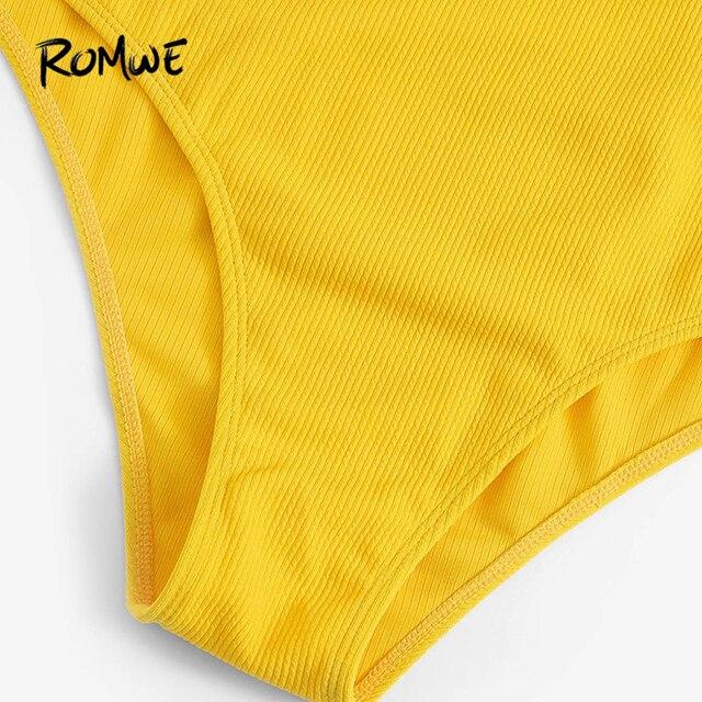 Romwe Спорт Плюс Размер Желтый сплошной ребристый узел спереди Цельный купальник для женщин сексуальный провод бесплатно Лето Монокини купал... 3