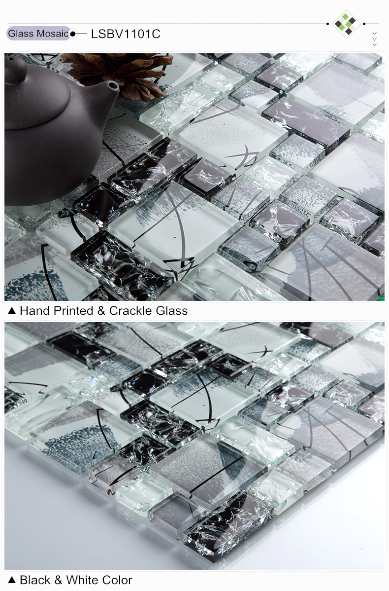 Crystal Ice Crack Black&white Glass mosaic tile kitchen backsplash bathroom wall shower TV tub backwall Artdecor ideas,LSBV1101D