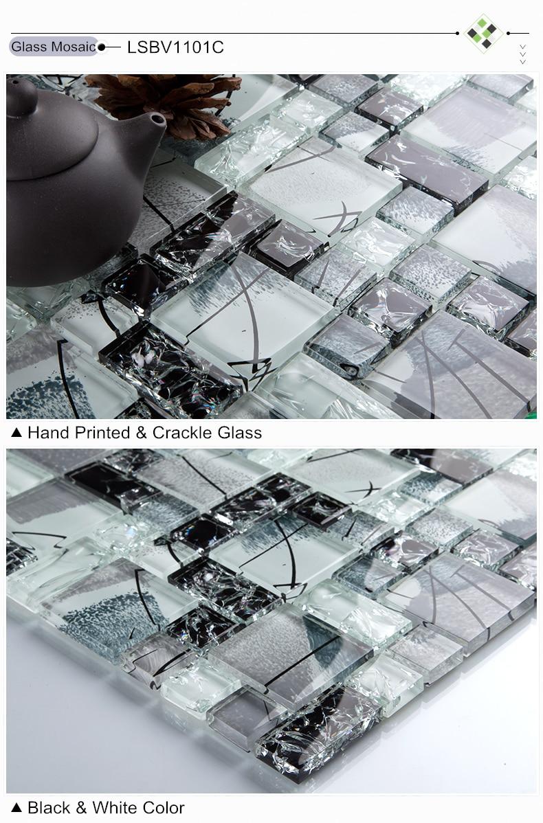 Crystal Ice Crack Black white font b Glass b font font b mosaic b font tile