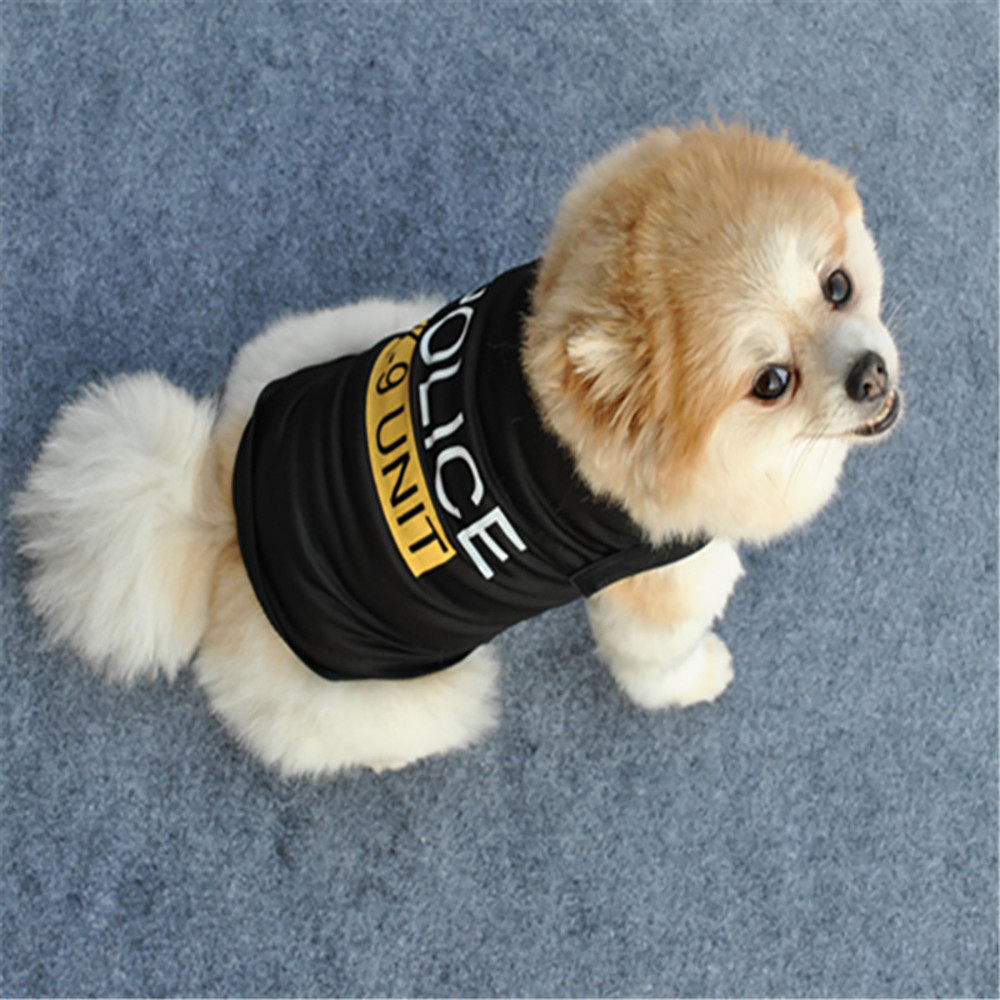 POLICE Back Pet Cat Dog Clothes Vest Summer Unisex Puppy Dogs T Shirt Sleeveless Apparel Clothing Cute Wear For Small Doggy