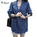 2017 New Arrival Korean Fashion Ladies Jeans Jackets Autumn Winter Retro Loose Denim Women Long Sleeve  Jacket and Coat