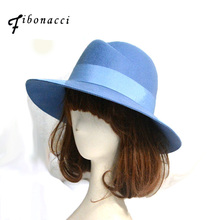 Fibonacci High Quality Dome Fedora Hat Ladies Hats for Women Blue Wool 100% Felt