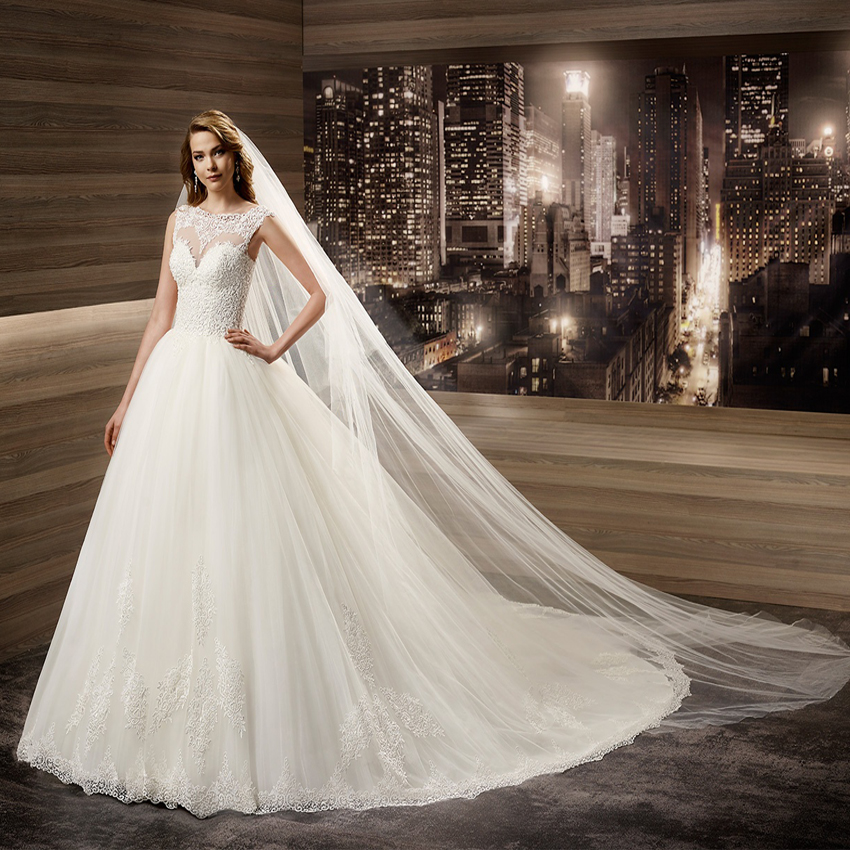 FW1315 Hot O Neck See Through Lace Bridal Ball Gown