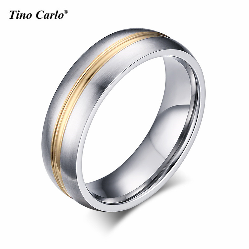 Tino Carlo 6MM Stainless Steel Polishing Women Rings Simple Golden Line Unisex Rings Men Rings Size 5~13 SF-055