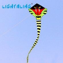 Кобра Зеленый Длинные Змея Змеи Высокое Качество Отдых На Открытом Воздухе Спорта 15 м Кайт С Ручкой Линии Хорошая Игрушка в Подарок Lightaling