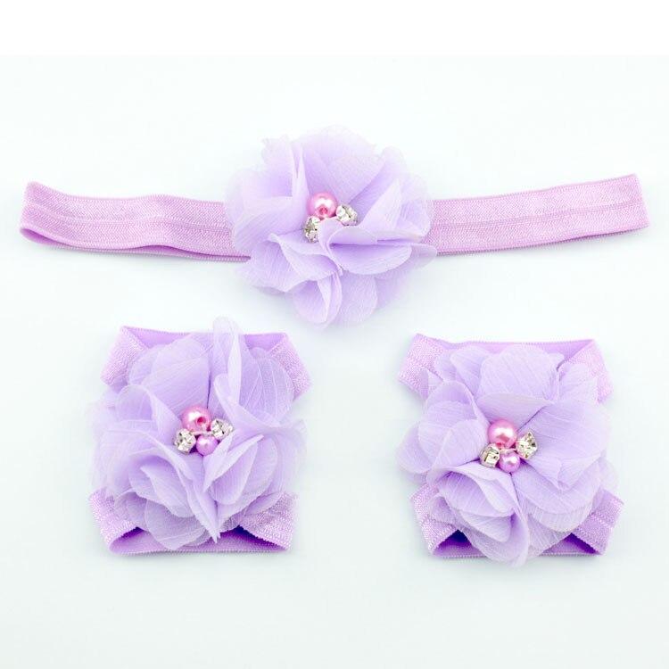 Детская повязка на голову; Детские босоножки ботинки со стразами и цветами; комплект с повязкой на голову; обувь; реквизит для фотосъемки; Детские аксессуары для волос - Цвет: lilac