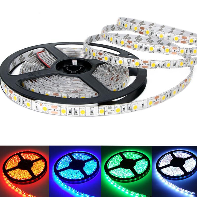5M IP65 Waterproof SMD 5050 Strip Lights Flexible LED Strip Light DC 12V 60LEDs/M Holiday LED Tape Ribbon Light Car Lamp