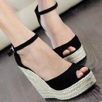 Elegant Fashion Elegant Women Open Toe Platform Wedges Straw Braid Velvet Platform Sandals