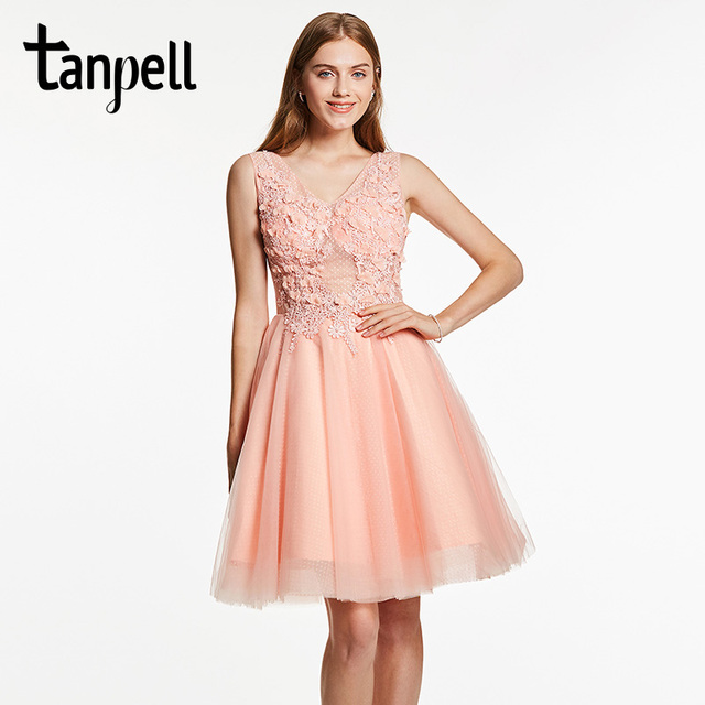 Tanpell appliques homecoming dress pink v neck sleeveless knee ...