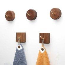 Beech Black Walnut Coat Hangers Solid Wood Hook Decorative Wall Bag Hat Keychain Round Square Towel