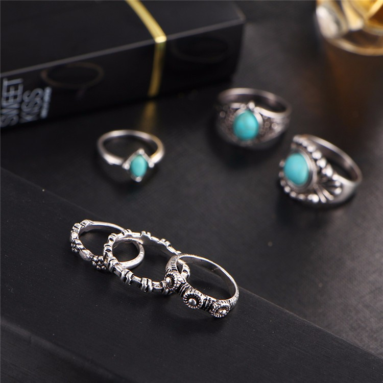 HTB1XEcEOFXXXXcWapXXq6xXFXXXi 6-Pieces Boho Ethnic Vintage Turquoise/Opal Knuckle Ring Set For Women - 2 Styles