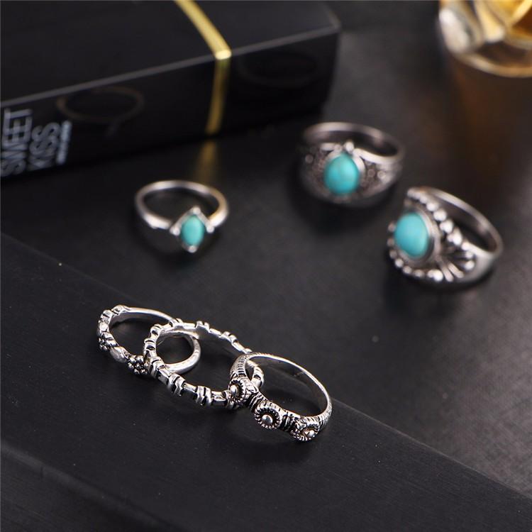 HTB1XEcEOFXXXXcWapXXq6xXFXXXi 6-Pieces Boho Ethnic Vintage Turquoise/Opal Knuckle Ring Set For Women - 2 Styles