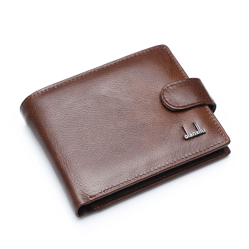 Genuine Leather Men Wallets With Coin Pocket Brown Wallet Purse Male High Quality wholesale price 2015 genuine leather wallets men brown purse