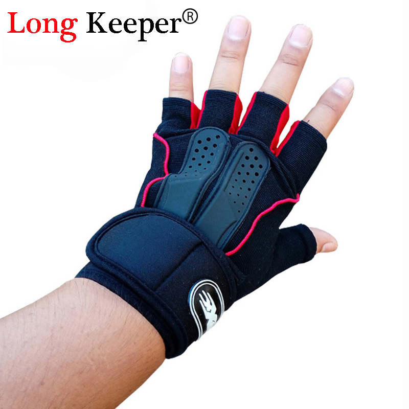 Long Keeper Classic Sports Fingerless Gloves Women Men Letter Half finger Gloves Gym Work Out Mittens Red Blue G212
