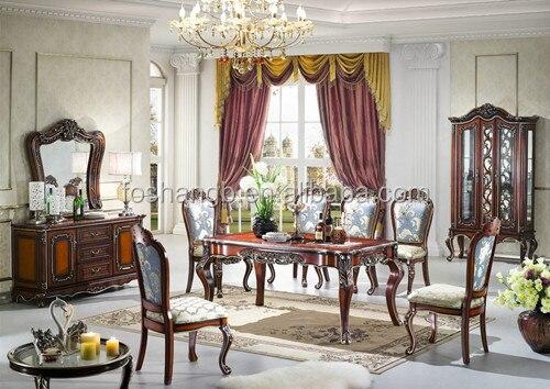 stile europeo classico in legno tavolo da pranzo e sedia , sala da ...