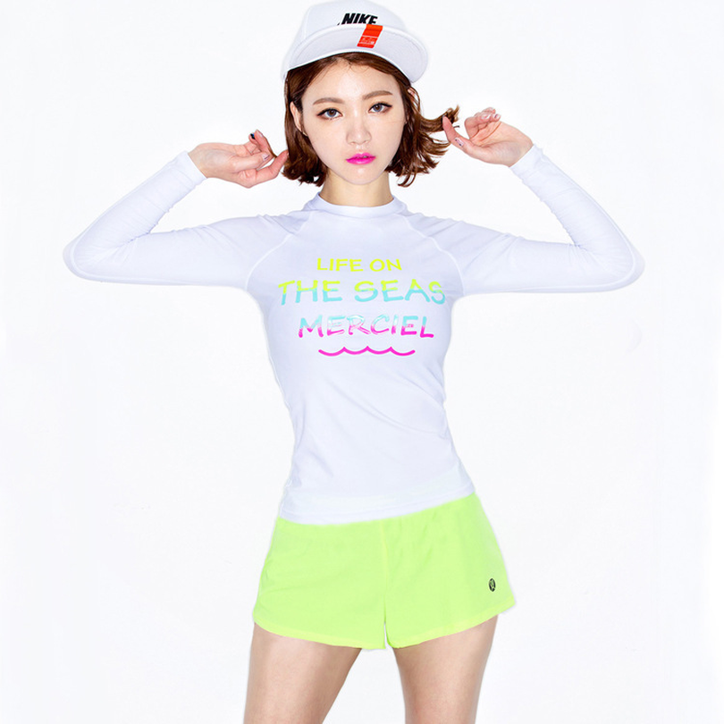ملابس السباحة الإناث 2019 الكورية Rashgardy Plavky ملابس السباحة رفع للفتيات ليكرا جديد انقسام أربعة قطعة طويلة الأكمام تصفح