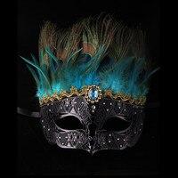 Cadılar bayramı yarım yüz maskesi Venedik cosplay tüy maskeleri metal siyah üst saç maskesi kadın