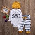 Bebê recém-nascido Meninas Menino Romper Chapéu Carta Impressão Encabeça Olá Mundo T-shirt Calças Leggings 3 pcs Roupas Definir