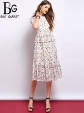 Baogarret Fashion Runway Summer Dresses Women's Short Sleeve Lace Peplum Floral Print High Waist Elegant Vintage Midi Dress