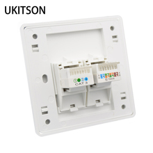 Glossy Panel Phone RJ11 With CAT5E RJ45 Wall Socket Outlet 86x86mm For Internet Telephone Plug