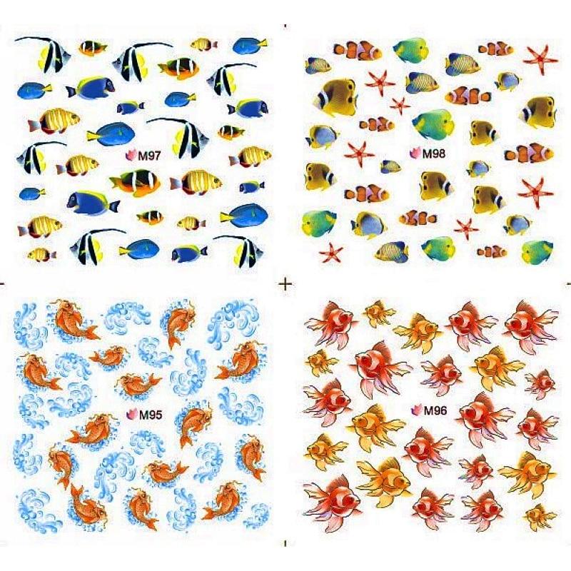 4 PACKS / LOT FULL COVER MARINE FISH OCEAN TATTOOS STICKER WATER DECAL NAIL ART M095-098 sticker encyclopedia ocean