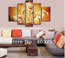 huge wall art modern lily  flower 5p oil painting of on canvas Free shipping