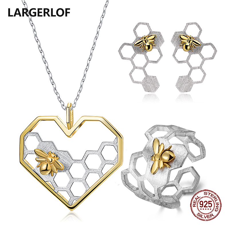 LARGERLOF 925 Sterling Silver Jewelry Sets Women Handmade Bee Set Jewelry Silver Jewelry 925 JS45006 серьги danny jewelry 925