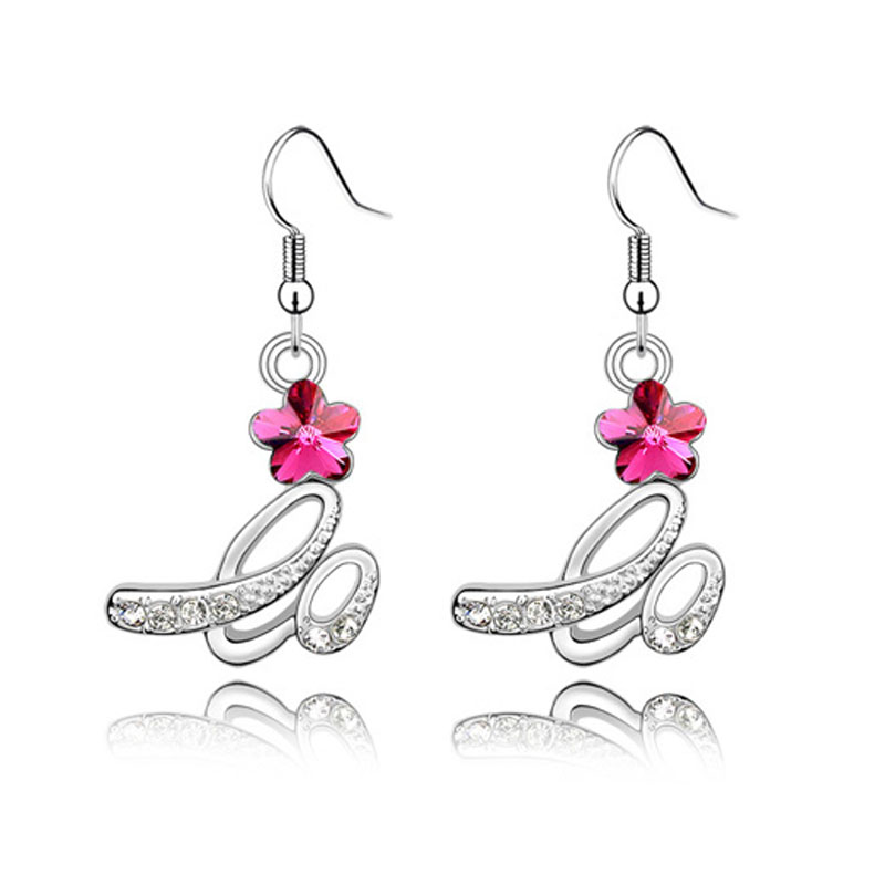 Silver Rhinestone Flower Bridal Earrings 3