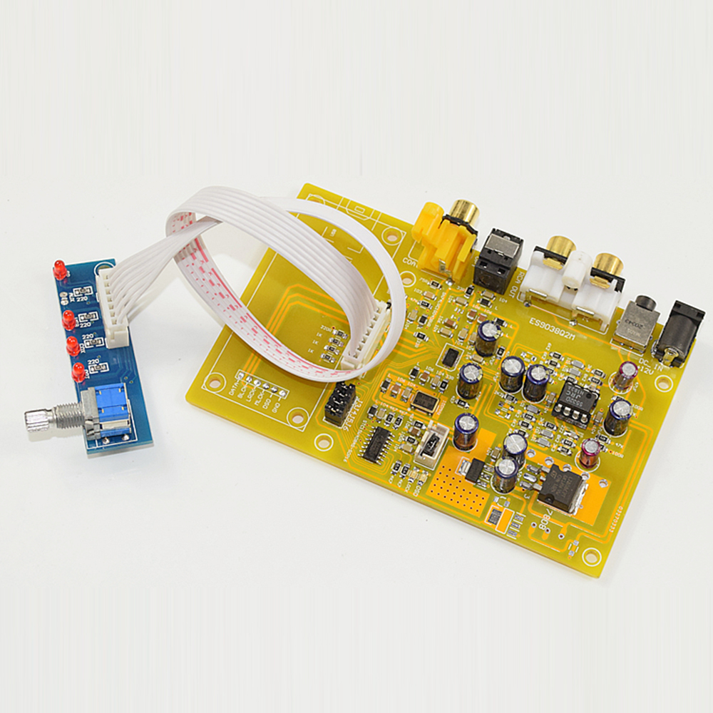 цены HIFI College K38 ES9038Q2M Triple Switch DAC Decoder Board Support Fiber/Coaxial/USB Input Audio Board