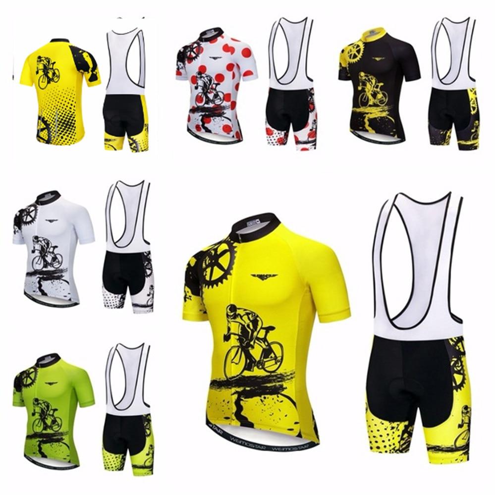 Homens amarelos Ciclismo Jersey bib Define Bicicleta Ternos Roupas Bicicleta Top Inferior Pro Cycling Wear Camisas mtb Roupas 2018 VERMELHO