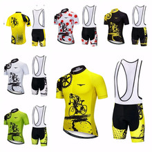 Yellow Men Cycling Jersey Bib shorts Sets Bike Clothing Suits Bicycle Top Bottom Pro Wear Shirts mtb Clothes 2018 RED