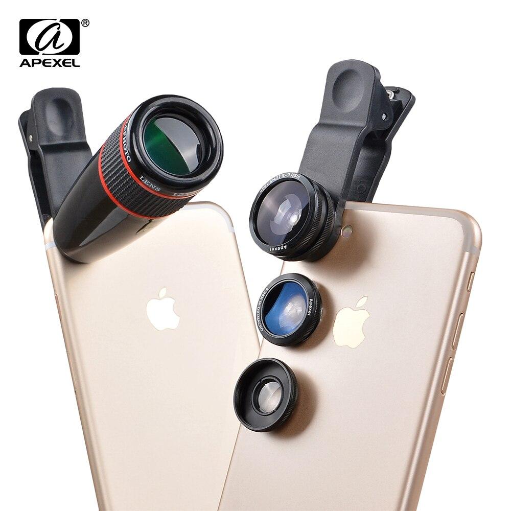 bilder für 12X Tele Teleskop Optische Zoom Objektiv + Weitwinkel & Macro + Fisheye kameraobjektiv kit für iphone5s 7 6 s plus samsung 12cx3
