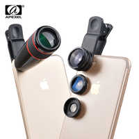 12X telescopio Telephoto lente de Zoom óptico + gran angular y Macro + Kit de lente de cámara de ojo de pez para iPhone5s 7 6 s Plus Samsung 12CX3