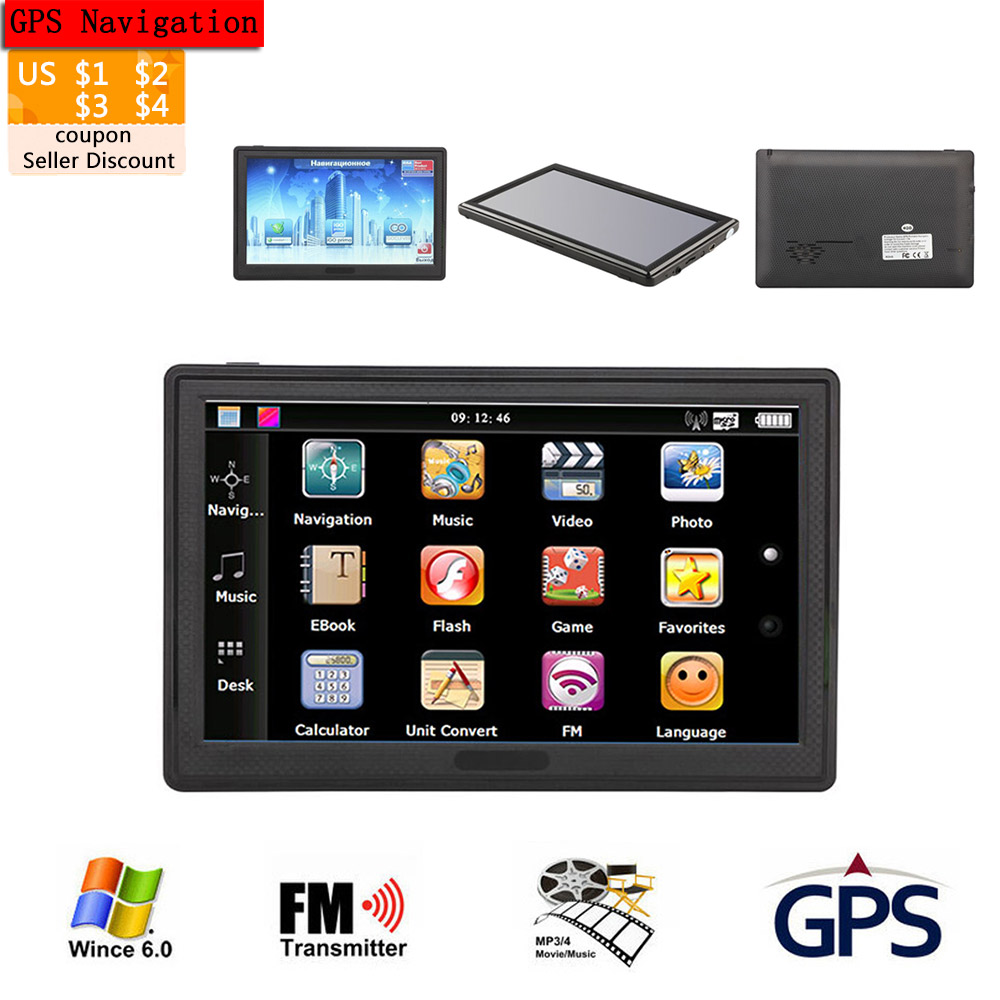 Topsource Car Gps Navigation Hd  Portable System Units Fm Gbm Mhz Map For Europeusacanada Lifetime Maps And Traffic