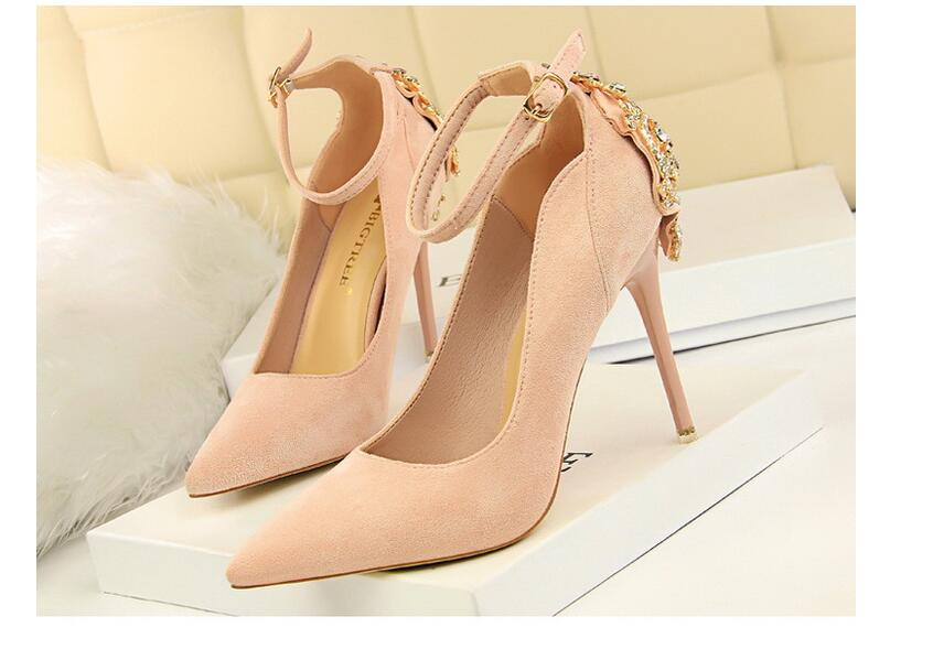 2017Europe Elegant Pumps High-heeled Shoes Women's Stiletto Heeled High Heels Shoes Satin Shallow Pointed Diamond Sandals ----- new spring pumps fashion sexy slim thin high heels suede belt buckle shallow pointed high heeled shoes elegant stiletto g2586 35